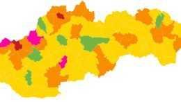 Šesť okresov bude zelených. Dominovať budú žlté (+mapa)