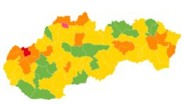 Rozdelenie okresov na covidovej mape