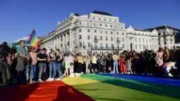 ľudia s dúhovou vlajkou na proteste za práva LGBT komunity v Maďarsku