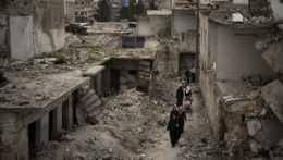 zničené budovy v Sýrii