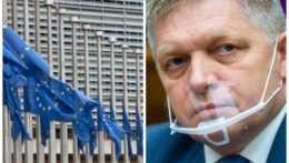 Na snímke Budova Európskej komisie v Bruseli a Robert Fico.