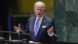 Americký prezident Joe Biden pri svojom prejave v rámci všeobecnej rozpravy 76. zasadnutia Valného zhromaždenia OSN.