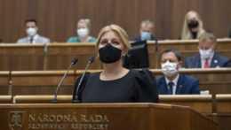 prezidentka Zuzana Čaputová vystupuje so správou o stave republiky v parlamente