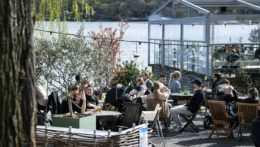 Ľudia pijú a jedia na terase reštaurácie.