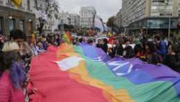 účastníci pochodu za práva LGBT komunity v Kyjeve