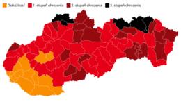 Mapa rozdelenia okresov podľa covidového automatu od 18. októbra