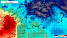 Mapa SR s teplotami