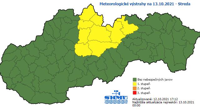 SHMÚ vydal výstrahy na stredu ráno pred snežením pre viacero okresov
